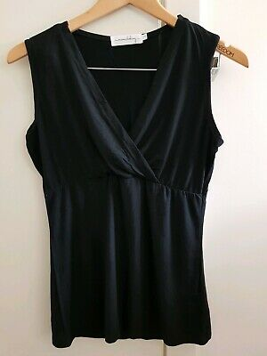 Breastfeeding Top - Black Size 8 - 10 Mama Clothing Cross Over Pull Down