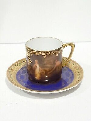 Antique Royal Vienna Porcelain Hand Painted Demitasse Cup & Plate  3.75""