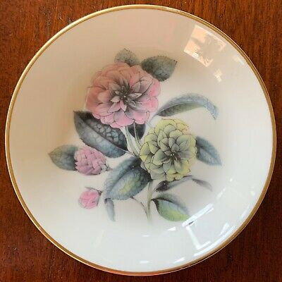 """Royal Worcester, 4"""" Coaster, White, Gold Trim, Pink, Yellow, Blue Floral Center"""