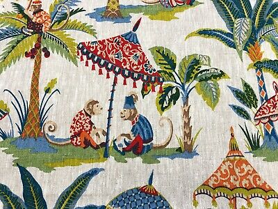 Exotic Monkey Parasol French 100% Linen Carnival Fabric | Curtains Upholstery
