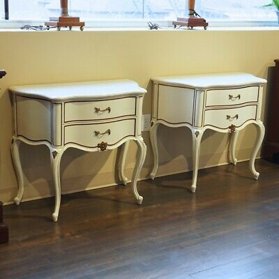 Beautiful Pair of Mahogany Night tables hand carved White with Marble