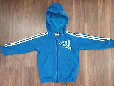 Adidas Blue Long Sleeved Hoodie With Zip For Boy 2-3 Years 98 Cm