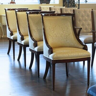 Set of 4 mahogany traditional dining chairs curved back with gold fabric