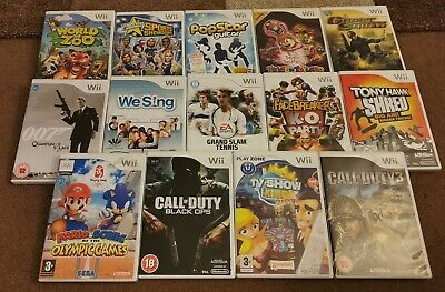 NINTENDO Wii GAME BUNDLE 14 GAMES CALL OF DUTY 007 GHOST SQUAD JOB LOT