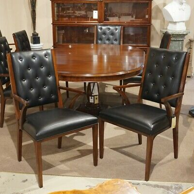 Set of 6 mahogany transitional dining arm chairs with black fabric