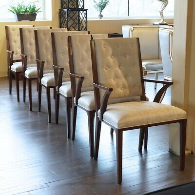 Set of 8 mahogany transitional dining arm chairs with silver fabric