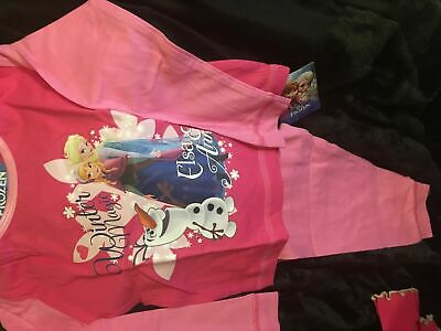 Disney Frozen Girls Pink Anna Elsa Cotton Pyjamas Age 2/3