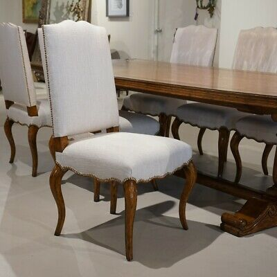 Set of 6 French Oak transitional dining chairs with white fabric