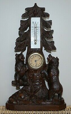 Stunning & Rare 19Th Century Black Forest Carved Bears Mantle Clock Thermometer