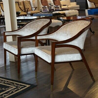 Pair of Transitional Mahogany Lounge Occasional chairs