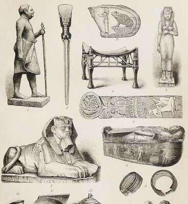 1895 Antique print of ANCIENT EGYPT ART and Culture. Archaeology. Egyptian Art.
