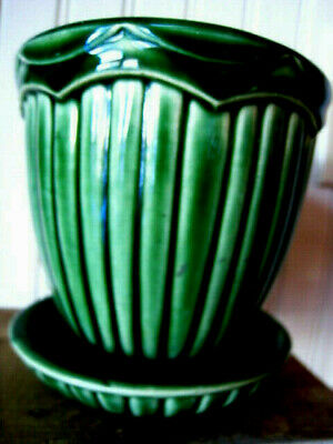 Vintage MCM~ MCP McCoy USA Dark Green Planter With Attached Saucer