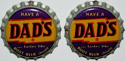 Soda pop bottle caps DADS ROOT BEER Lot of 2 cork lined unused new old stock