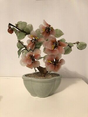 """Bonsai Tree Glass Agate Jade Green Leaves + Pink blossom in Celadon Planter 9""""H"""