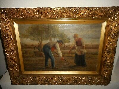 Antique oil painting 1.{ Man & woman working the field, is signed, great frame }