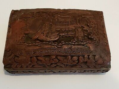 Antique 19c Chinese Hand Carved Cinnabar Box w/ Dragon Figures great detail