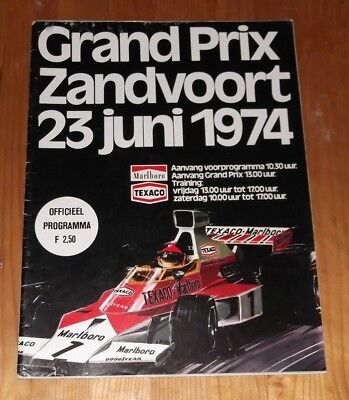 1974 Programme Dutch Grand Prix F1 Zandvoort † Lauda Regazzoni Fittipaldi Hunt