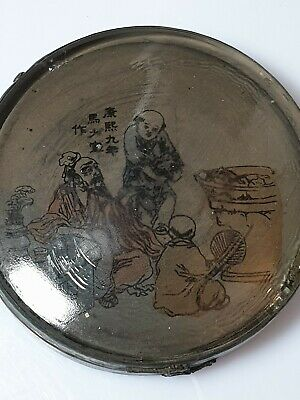 A Rare Qing Dynasty Peking Glass Inside Painted Lidded Caligraphy Ink Stone