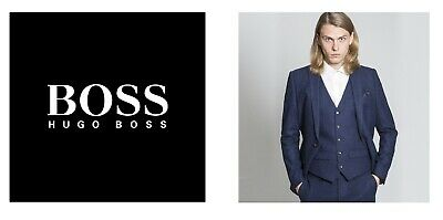 New Hugo Boss men blue suit designer smart vest wool waistcoat 38R Medium £129