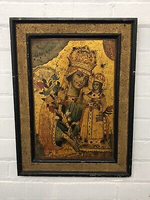 Antique 19c Russian Icon Hand Painted Gold Wood Virgin Mary Madonna & Child