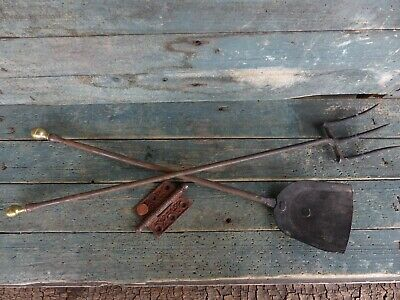 antique primitive 18th c wrought iron brass ball fireplace tool fork shovel aafa