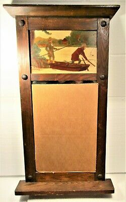 Mission Arts & Crafts Pine Wall Mirror, Likely East Us, Rustic Fishermen Scene