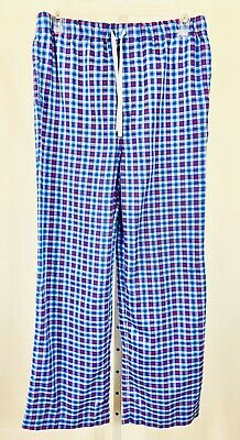 Vineyard Vines Size Large Pajama Pants Lounge Pants Tie Waist Blue Plaid