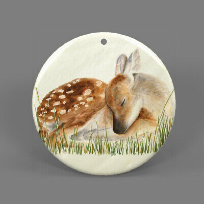 Natural Ablone Shell Deer Round Shape Pendant Necklace Jewelry  J1707 0667