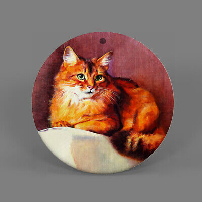 Natural Ablone Shell Cat Round Shape Pendant Necklace Jewelry  J1707 0323