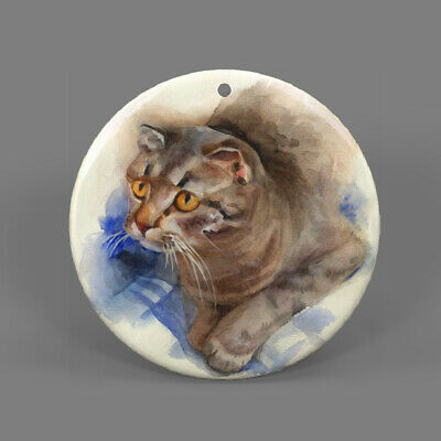 Natural Ablone Shell Cat Round Shape Pendant Necklace Jewelry  J1707 0415