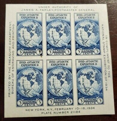 US National Stamp Expo Sheet - James A. Farley, Byrd Expedition 735 MNH - 1934