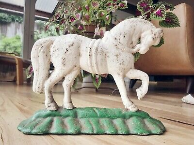 Genuine antique vintage cast iron horse doorstop