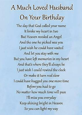 Husband On Your Birthday Memorial Graveside Poem Card & Ground Stake F104