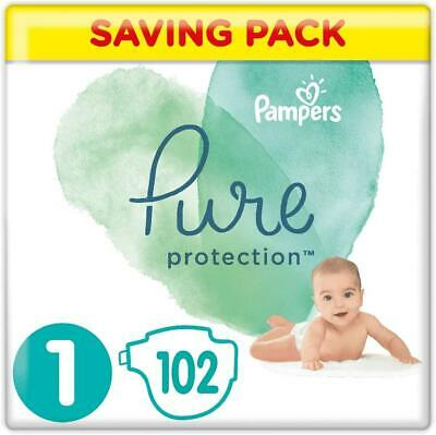 Premium Baby Pampers Pure Protection Size 1 102 Nappies Pack Cotton And Fibres