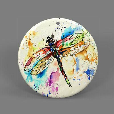 Natural Ablone Shell Dragonfly Round Shape Pendant Necklace Jewelry  J1707 0729