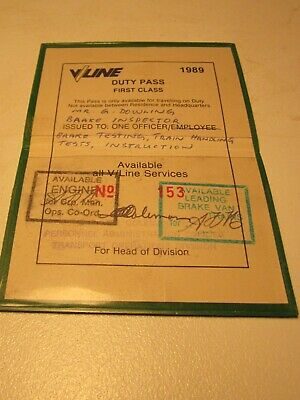 V/LINE 1st class Book Duty Pass issued in 1989 to Mr G Dowling,  Brake Inspector