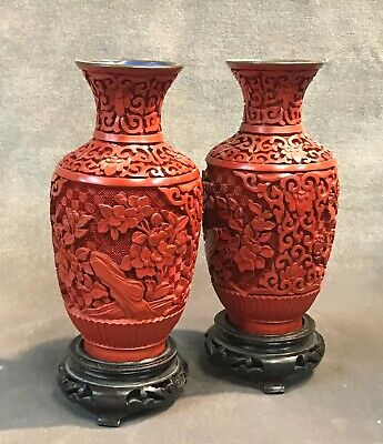 Antique Chinese Cinnabar Lacquer Vase Pair