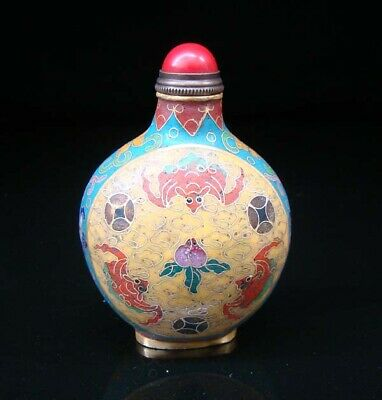 Collectibles 100% Handmade Painting Brass Cloisonne Enamel Snuff Bottles 055