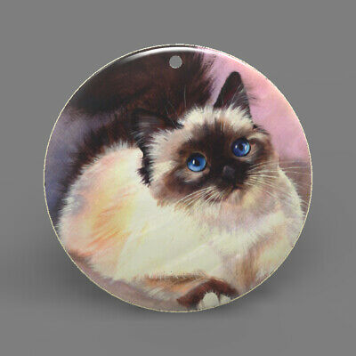 Natural Ablone Shell Cat Round Shape Pendant Necklace Jewelry  J1707 0181