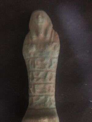 Rare Ancient Egyptian Faience Shabti With Hieroglyphics(945-715 BC.)