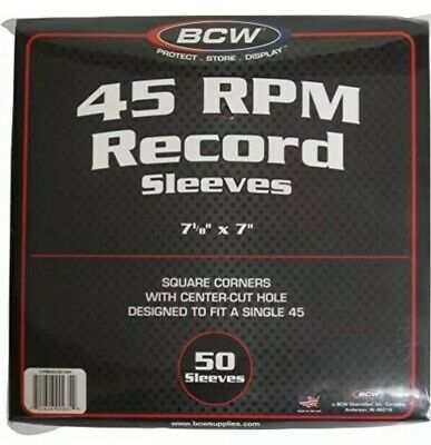 10 20 50 100 250 500 BCW 45 RPM Record Paper Sleeves with hole