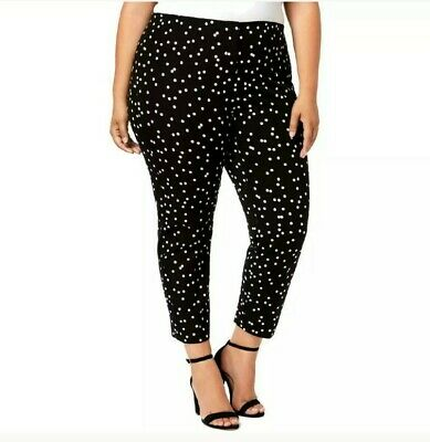 Alfani Womens Pants White Black Size 20W Plus Ankle Dot-Print Stretch $84