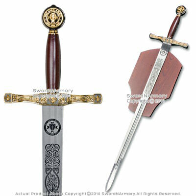 King Arthur Excalibur Medieval Crusader Knights Long Sword Movie Replica w/ Plaq