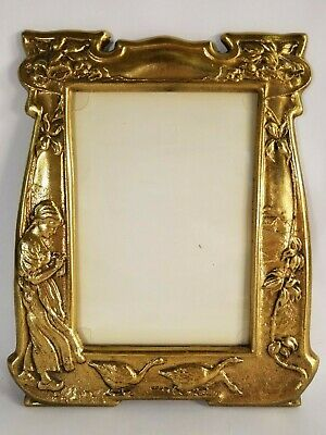 Vintage Art Deco Cast Iron Picture Frame Girl Geese Flowers Excellent Condition
