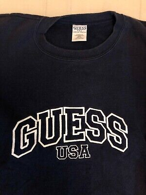 Mens Guess USA Vintage Navy Blue X Large Sweater Embroidered