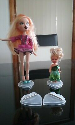 """10 x plastic heart shape stands suit 3.5- 12 """" high flat footed dolls"""