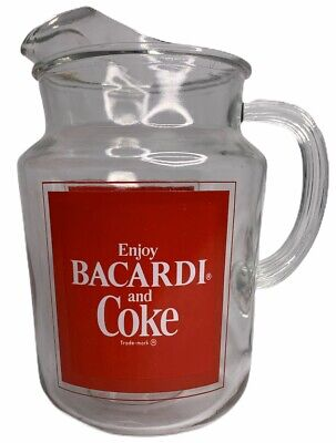 Vintage Bacardi Rum and Coca-Cola / Coke Advertising Glass Pitcher