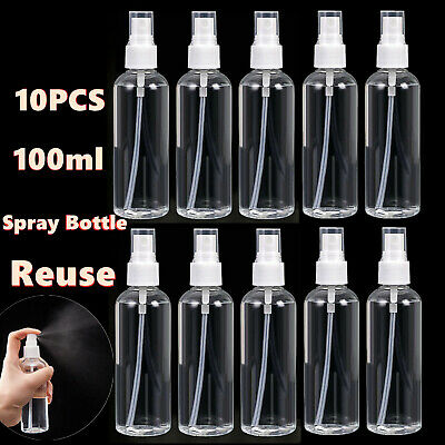 10PCS 100ml Travel Transparent Plastic Perfume Atomizer Empty Spray Bottle Reuse
