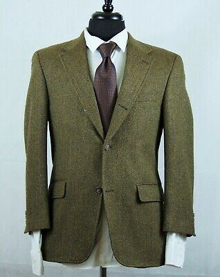 J. Press 3/2 Roll Herringbone Wool Cashmere Tweed Sport Coat Blazer Jacket 38S