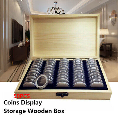 50/100Pcs Wooden Coins Display Storage Box Case for Collectible Coin Capsules UK